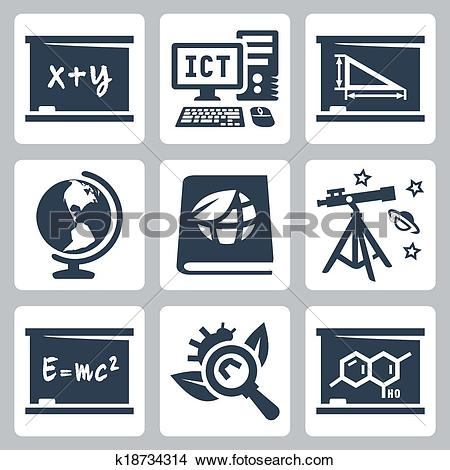 Clipart of Vector school subjects icons set: algebra, ICT.