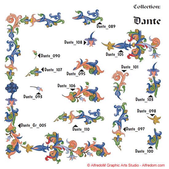 Renaissance Illuminated Manuscripts Borders & Letters Clip Art EPS.