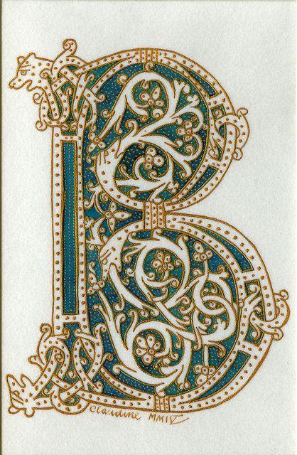 Illuminated Manuscript Clipart Letter B.