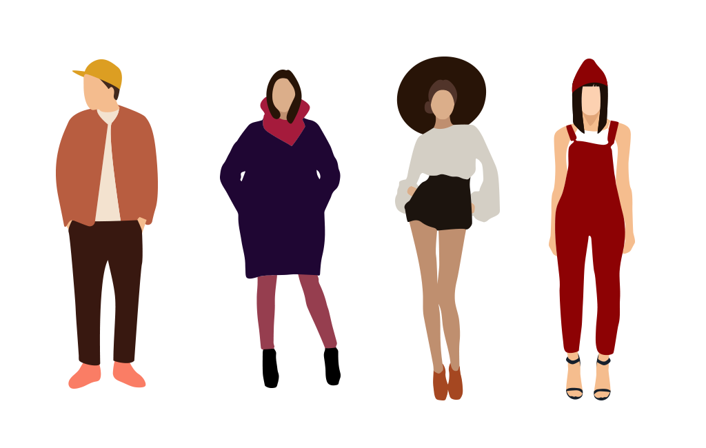 Flat Fashion People Illustrations.