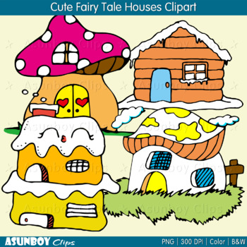 Cute Fairy Tale Houses Clipart.