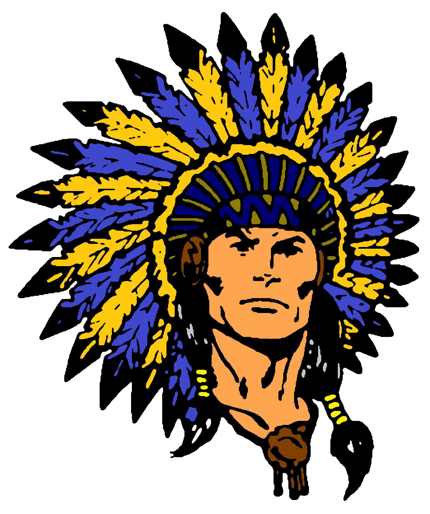 Clipart of the Indian Warrior logo free image.