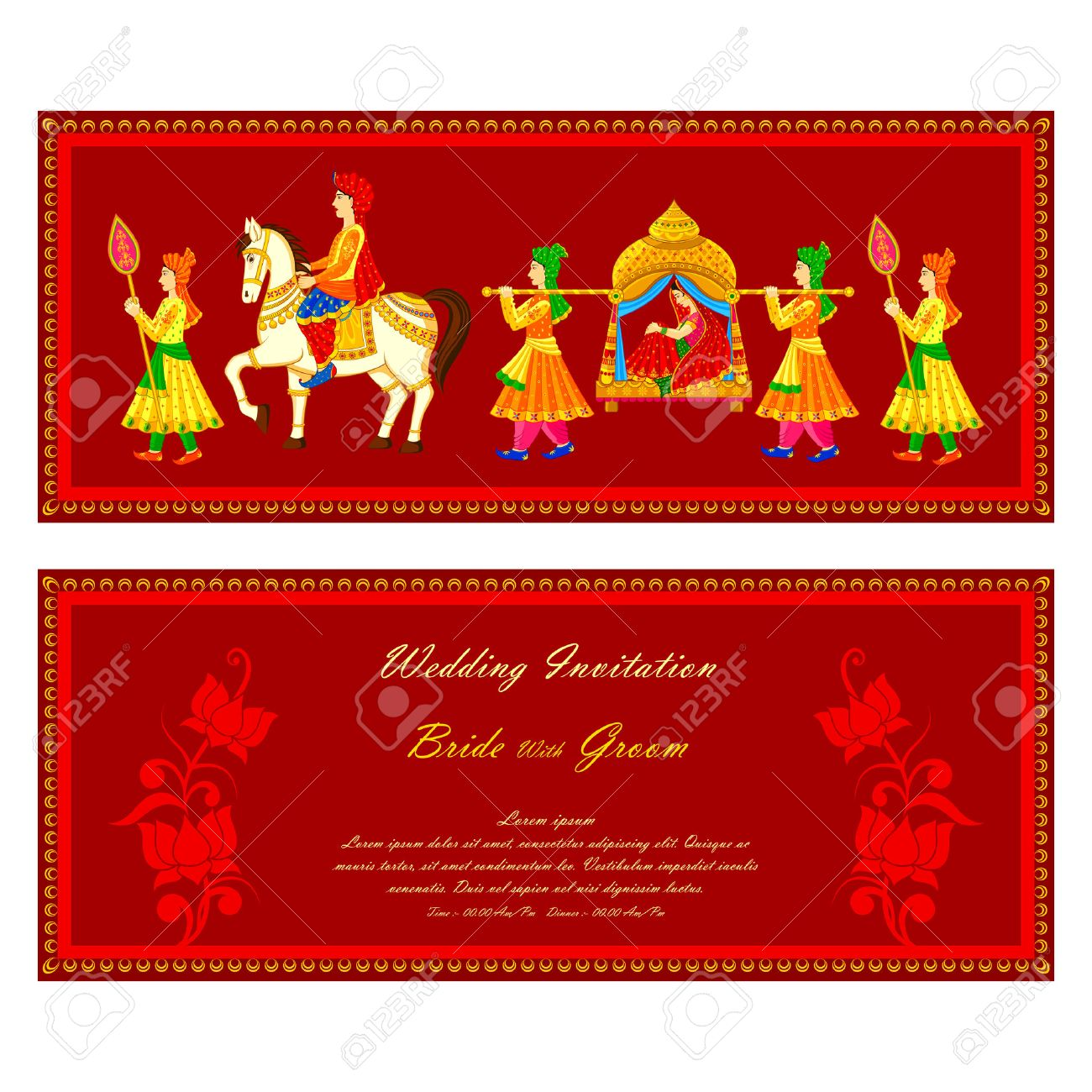 vector illustration of Indian wedding invitation card.
