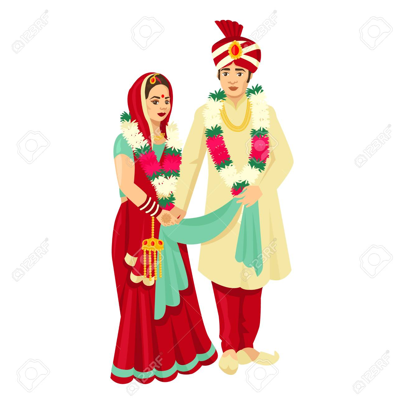 Indian wedding couple in traditional dresses. Vector design for...