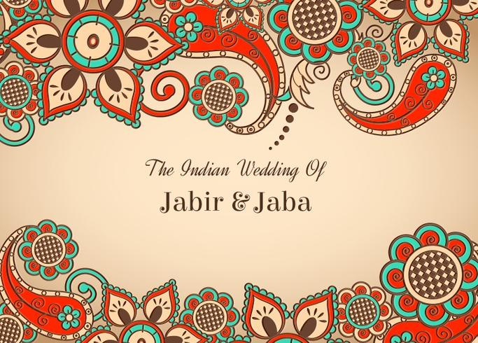 Vector Colorful Indian Wedding Card.