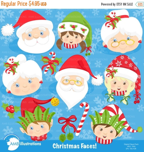 Christmas Faces Clipart, Christmas Santa Clipart, Mrs Claus and.