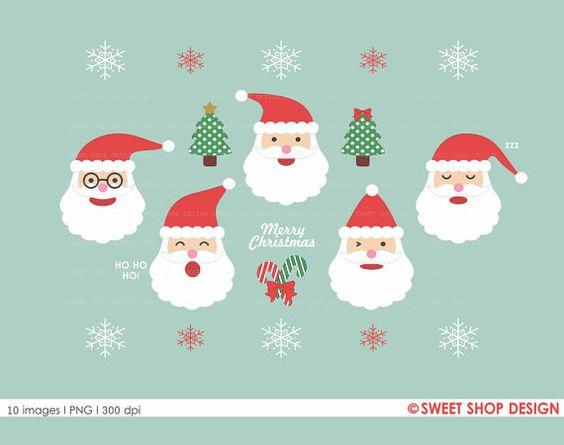 Santa Clipart, Christmas Clipart, Holiday Clipart, Santa Claus.