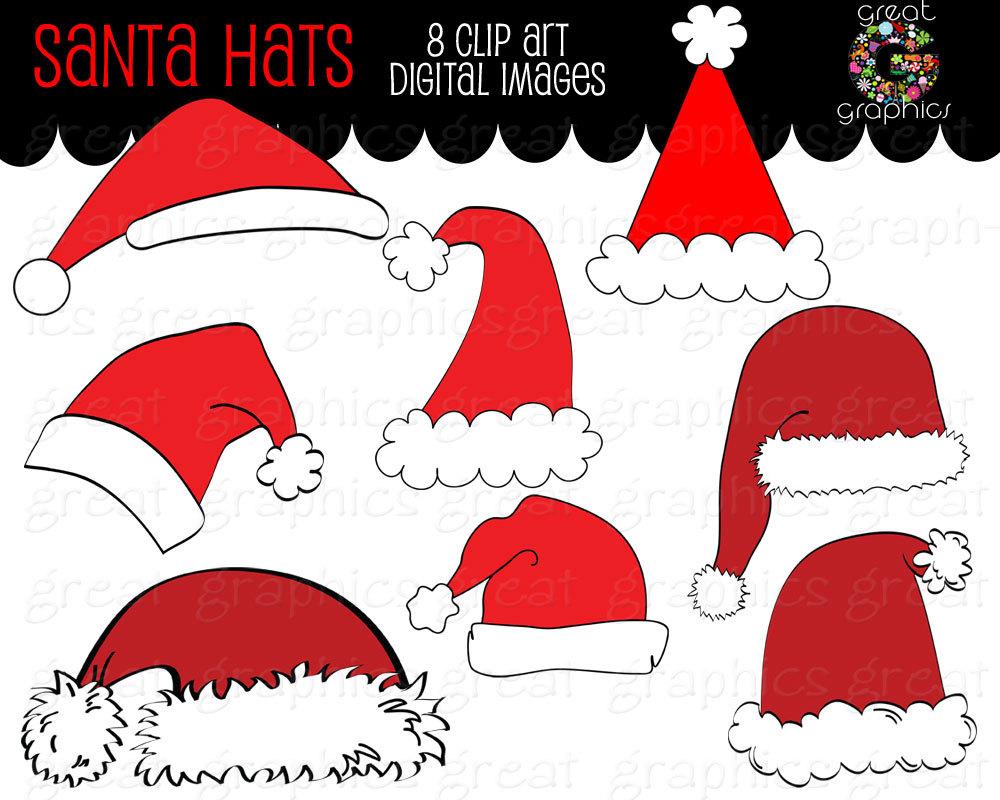 Santa Clipart Digital Clip Art Santa Hat Digital Download.