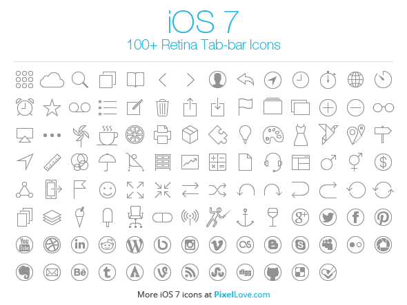 100+ Free iOS 7 Tab Bar Icons.