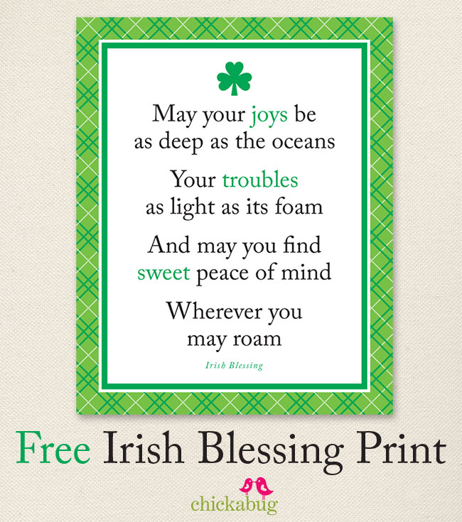 Irish Blessing Free Printable — Crafthubs.