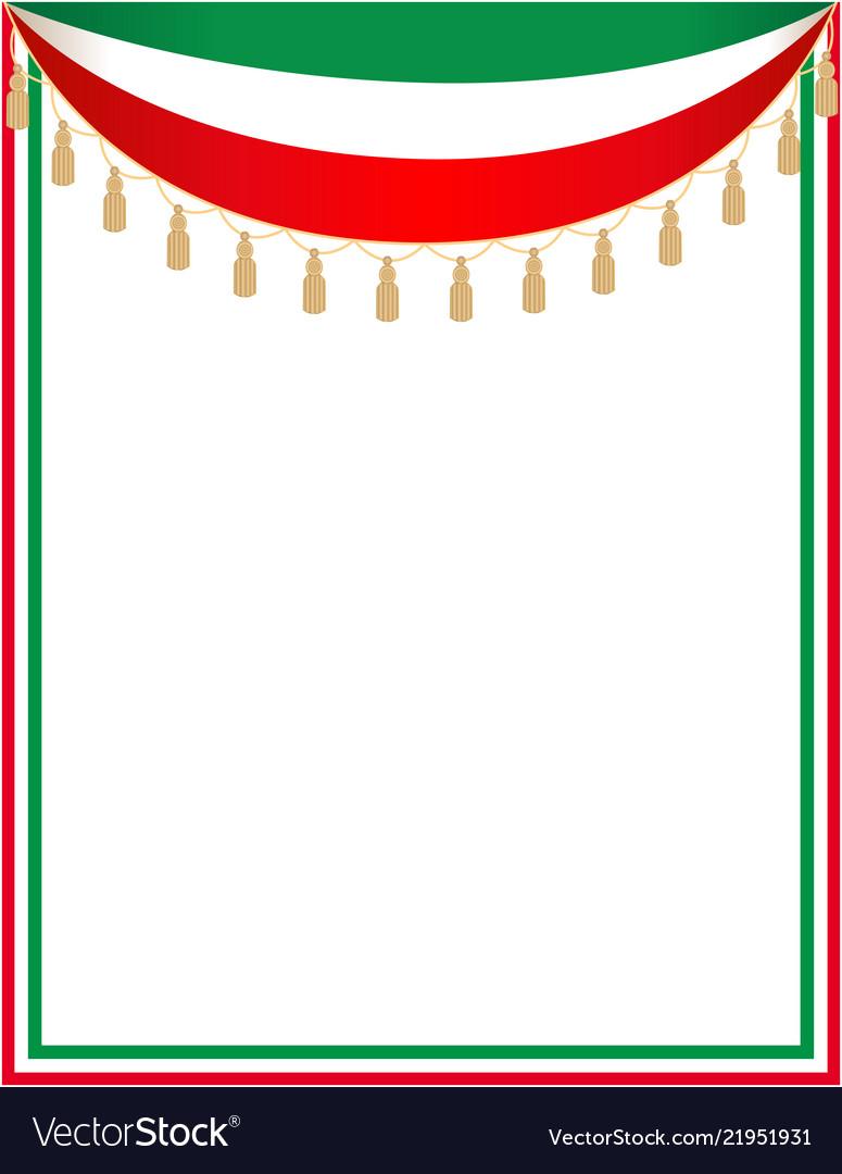 Italian holiday border with the italian flag.