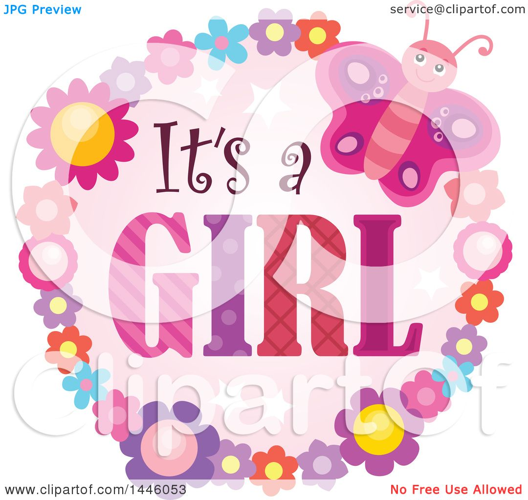 Clipart of a Round Flower and Butterfly Frame Around Gender Reveal.
