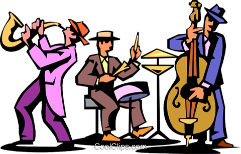 jazz trio of musicians Royalty Free Vector Clip Art illustration.