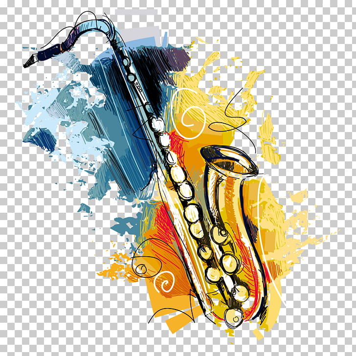 Brunch Free jazz Saxophone, Watercolor Saxophone, saxophone.