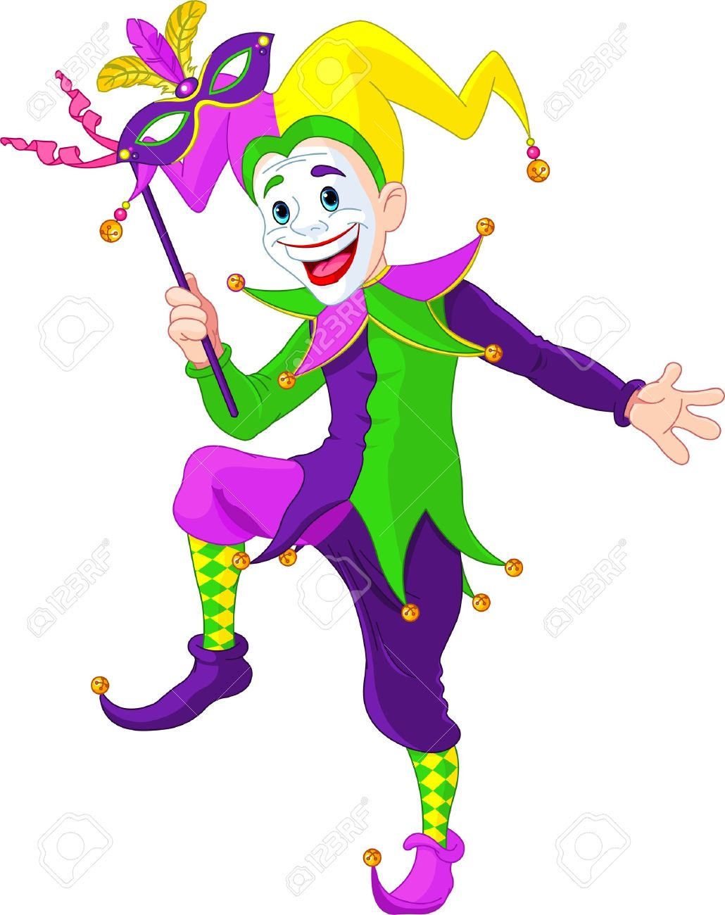 Clip art illustration of a cartoon Mardi Gras jester holding...