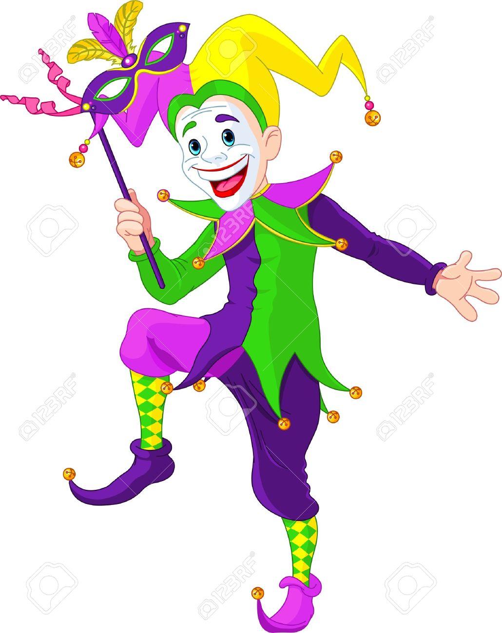 Clip art illustration of a cartoon Mardi Gras jester holding...