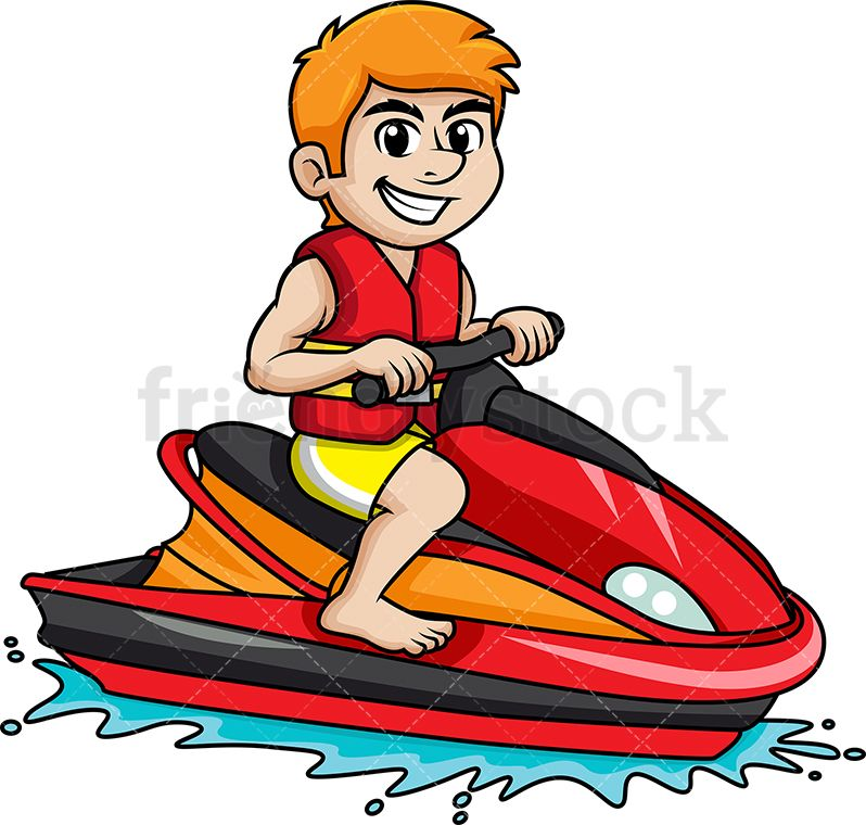 Man Riding Jet Ski.