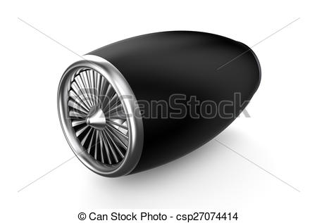 Clipart of black jet engine isolated on white background.
