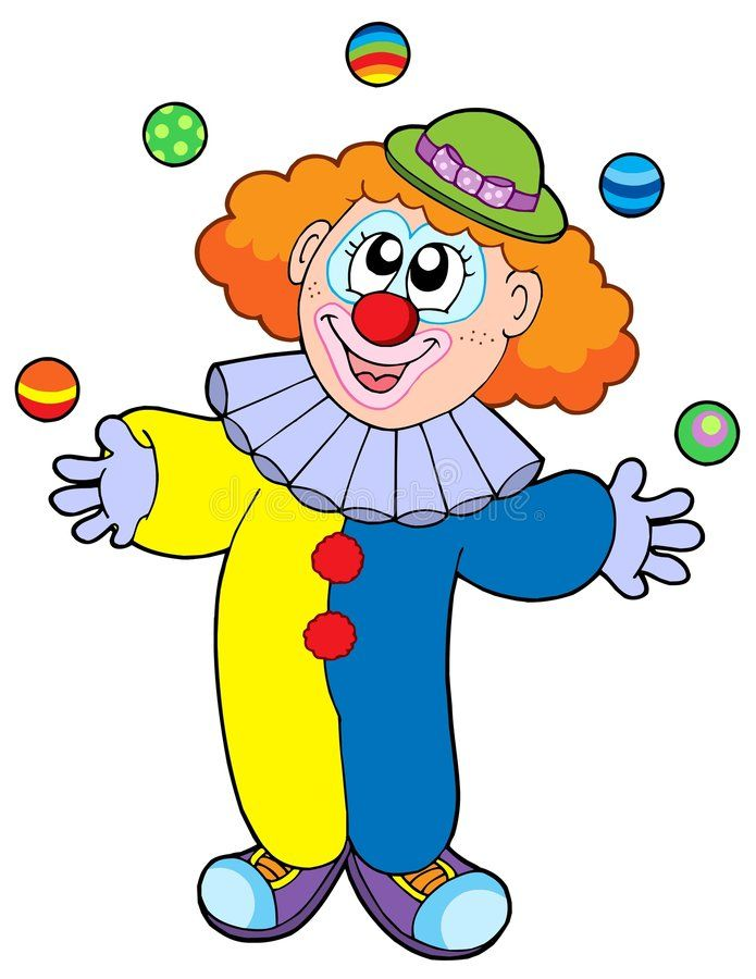 Illustration about Juggling cartoon clown.