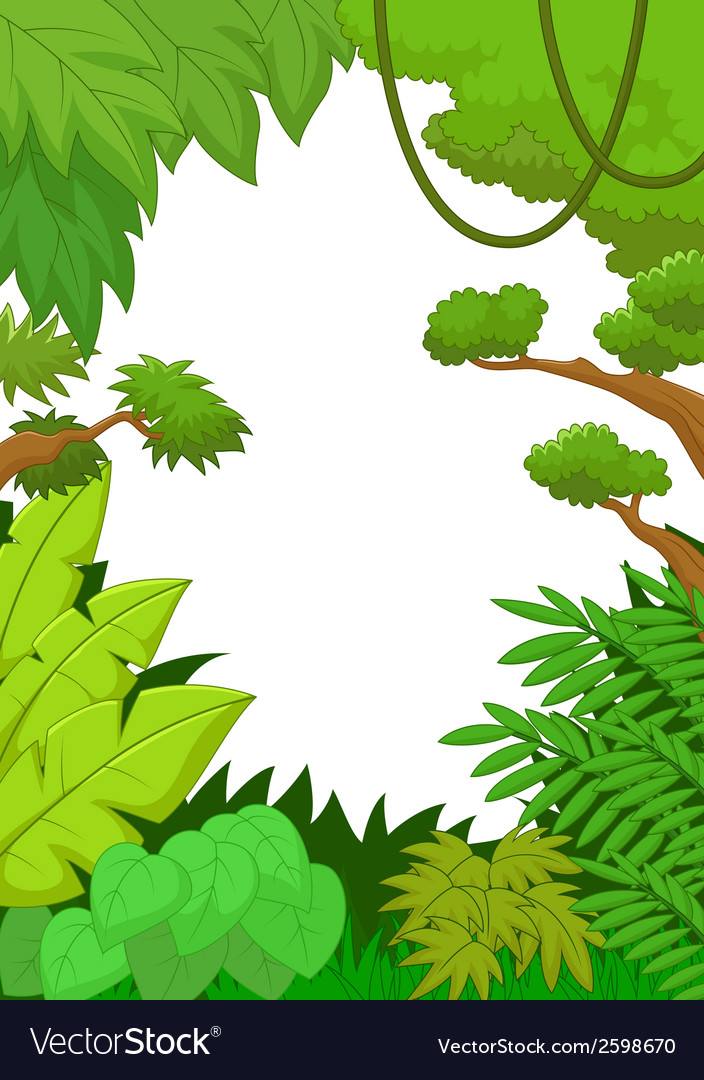Cartoon Tropical jungle background.