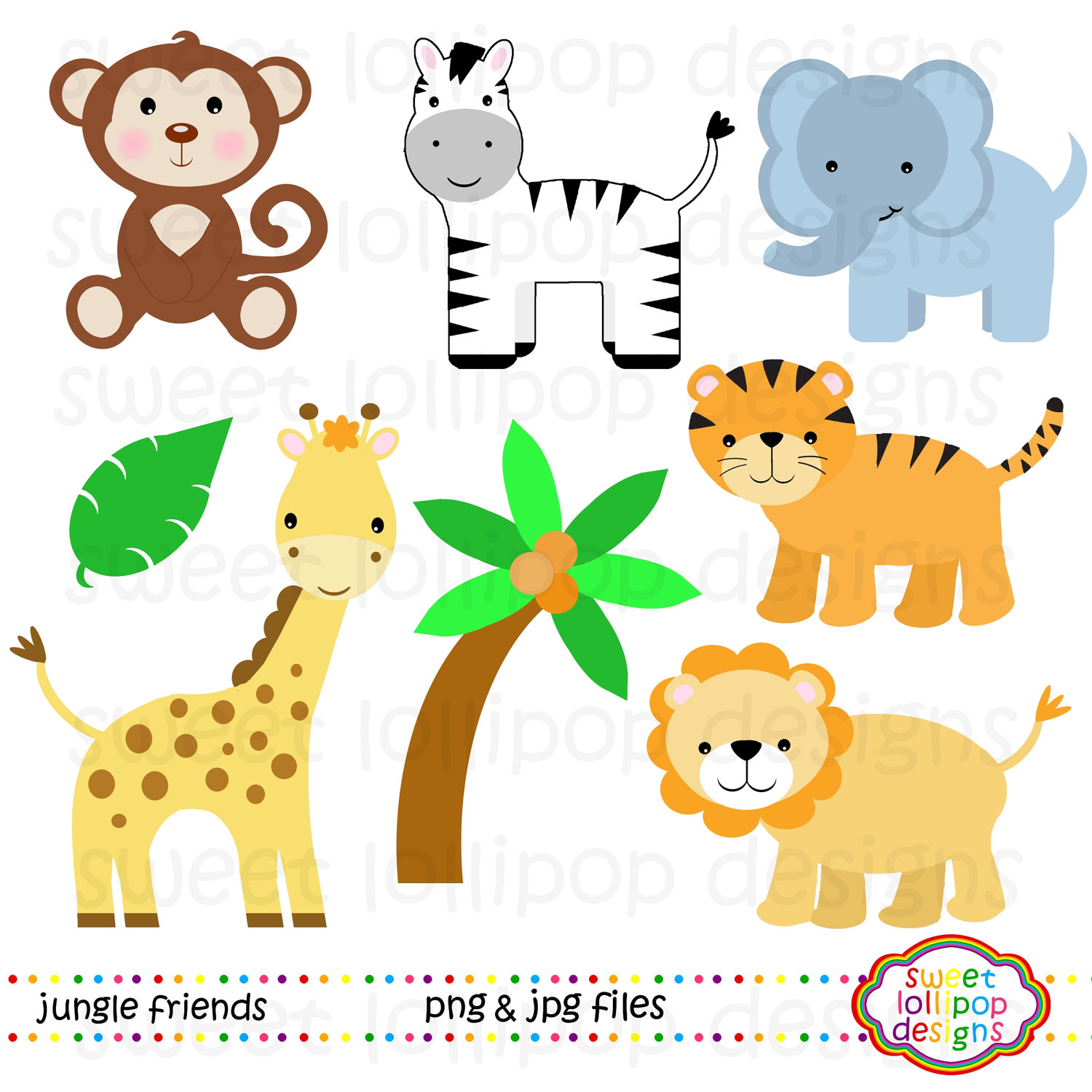 Baby Jungle Animal Free Vector Download clipart free image.