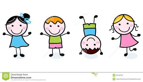 Happy Kids Clipart Black And White.