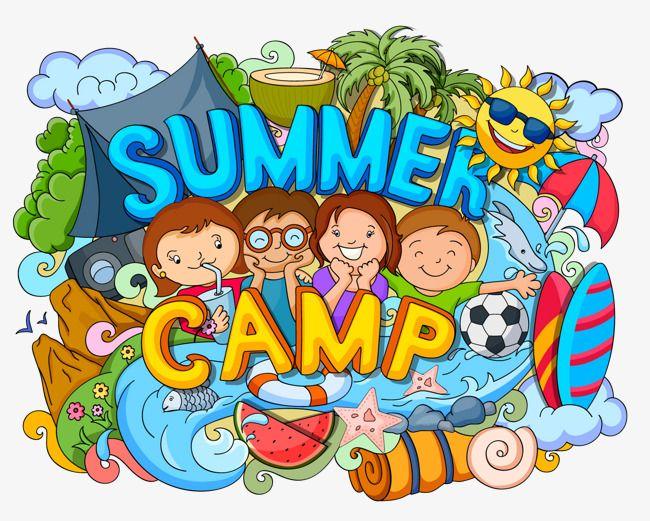 Four Children Summer Camp Graffiti Illustrator Vector.