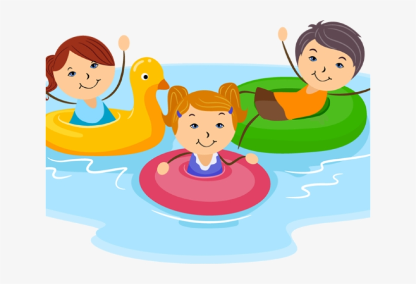 Banner Kid Swimming Clipart.