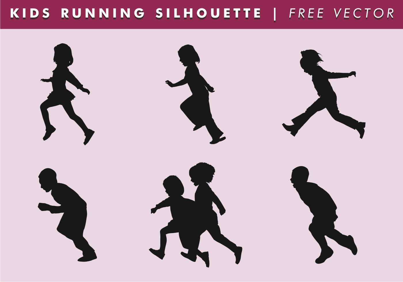 Kids Silhouette Free Vector.