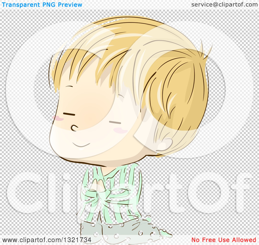 Clipart of a Sketched Blond White Boy Kneeling and Praying in.