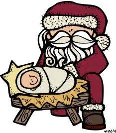 Image result for Santa Kneeling at the Manger Clip Art.