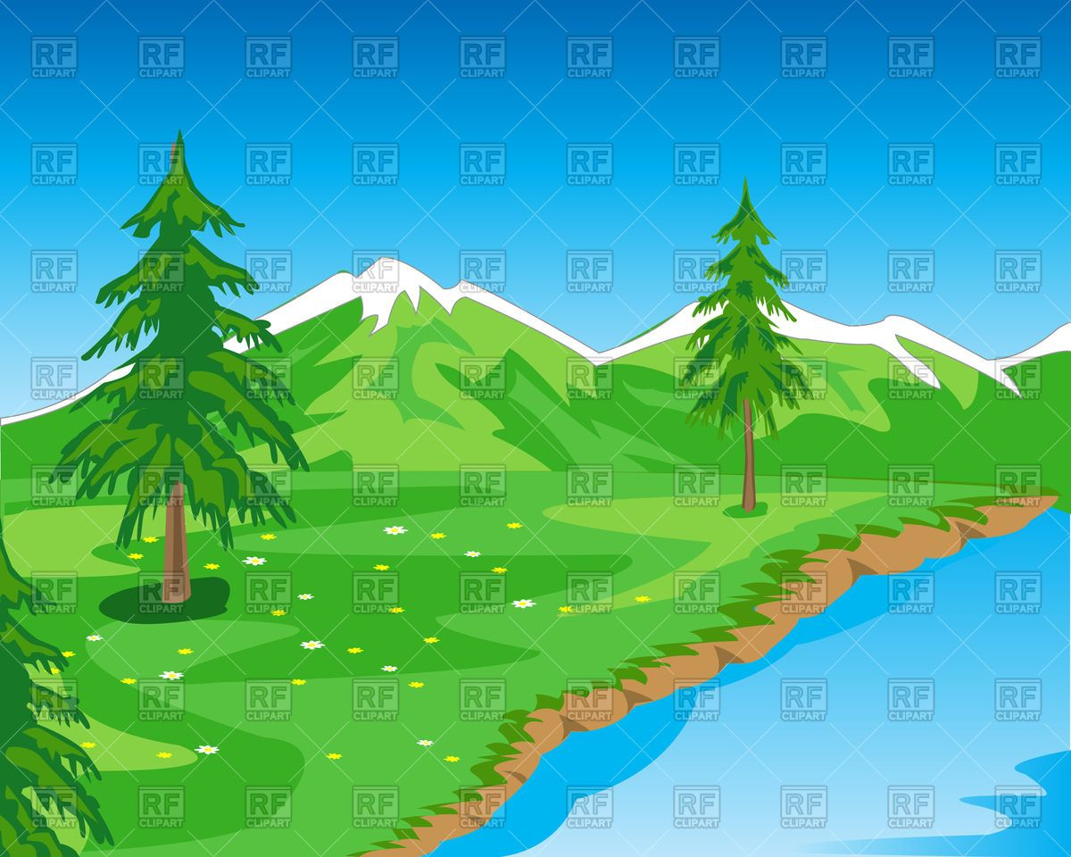 Beautiful mountain landscape with seashore Stock Vector.