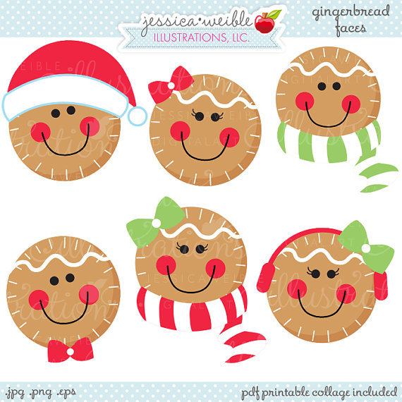 Gingerbread Faces Cute Christmas Digital Clipart, Commercial Use.