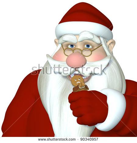 Santa In Gingerbread Man Snack Attack. Gingerbread Man Praying As.