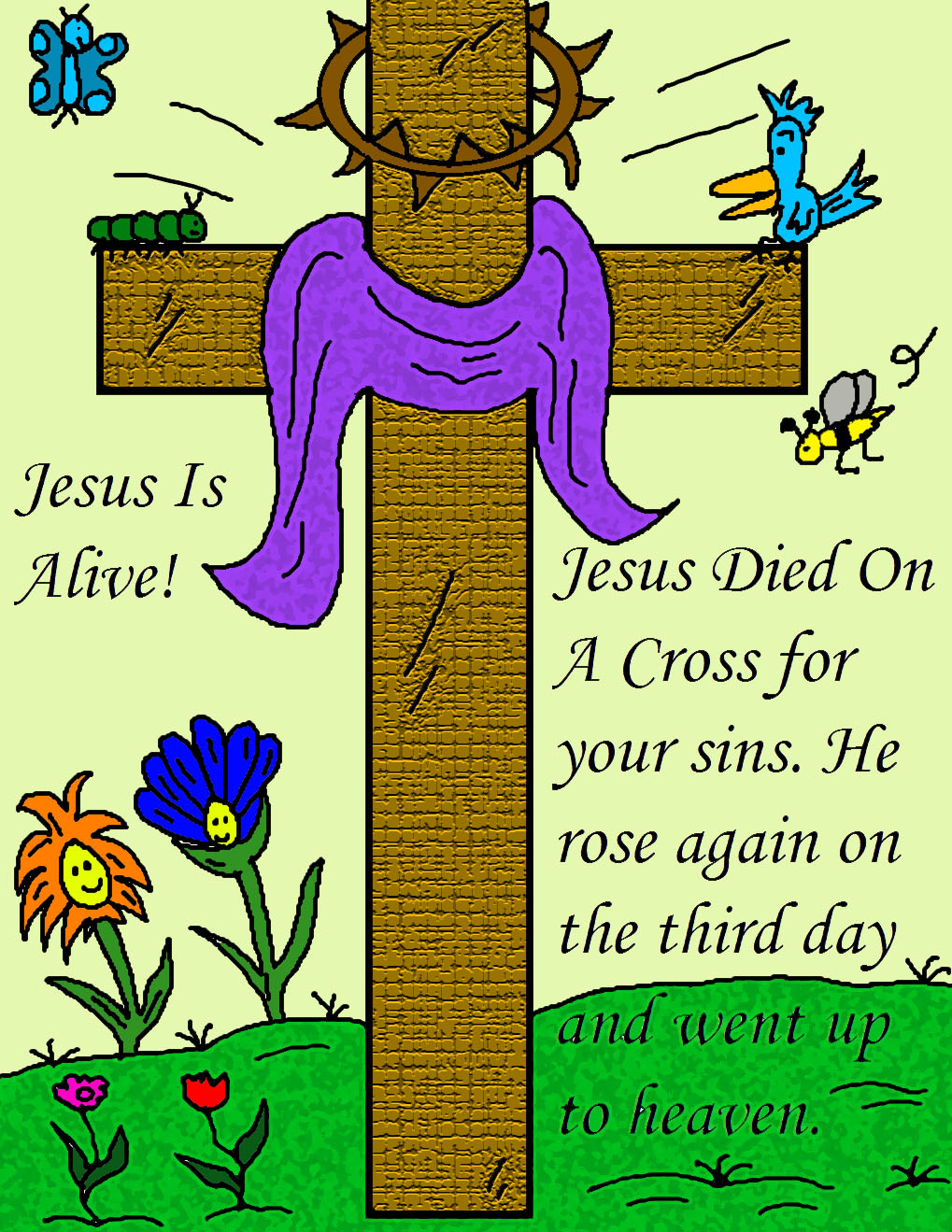 free printable Easter pictures, posters, Jesus is risen.