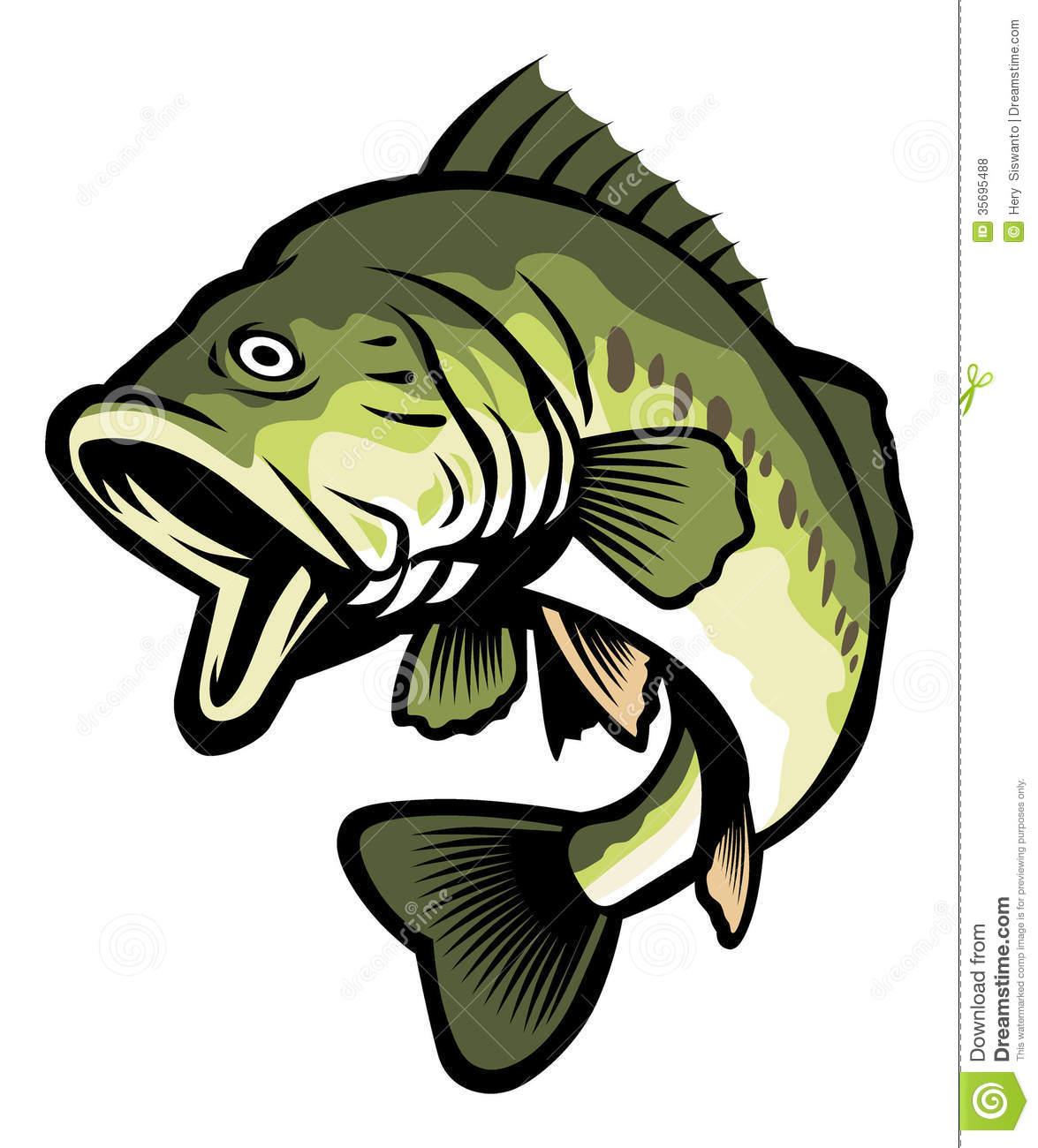 352 Bass Fish free clipart.