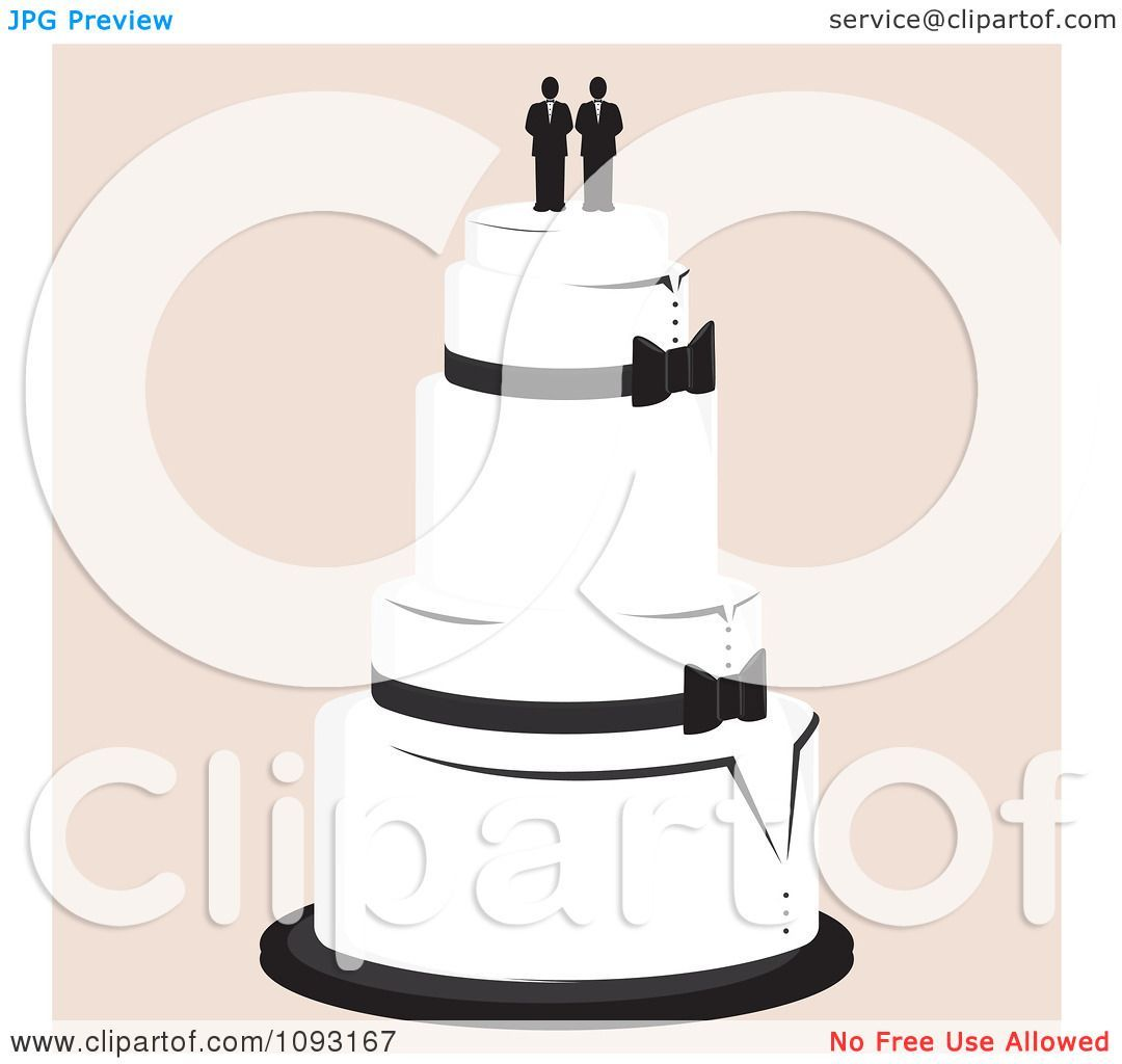 Clipart Layered Wedding Cake With A Gay Topper 2 Royalty Free.