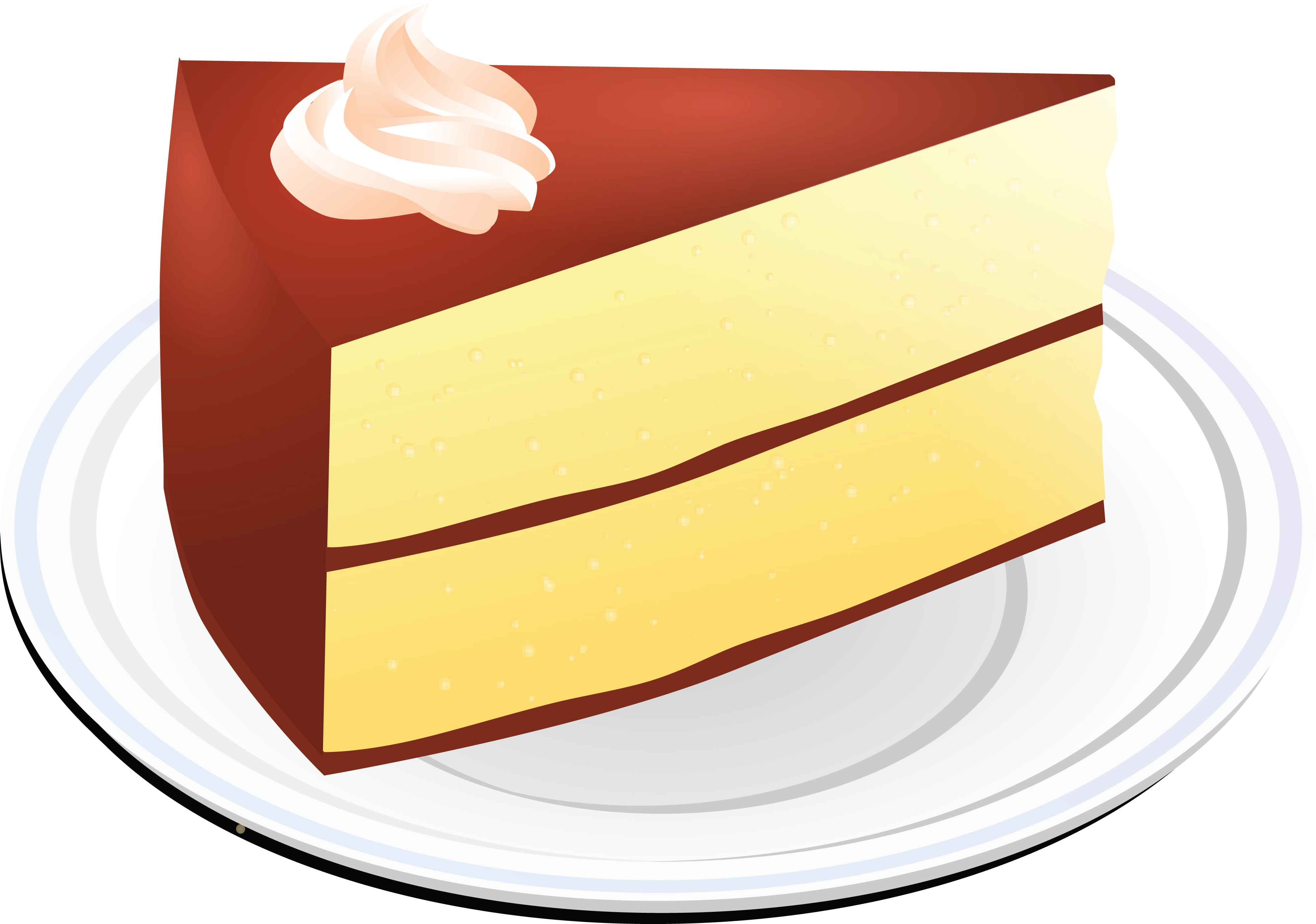 Clipart of a Layered Vanilla Cake With Chocolate Frosting.