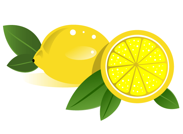Lemons with leaves Vector Graphics.
