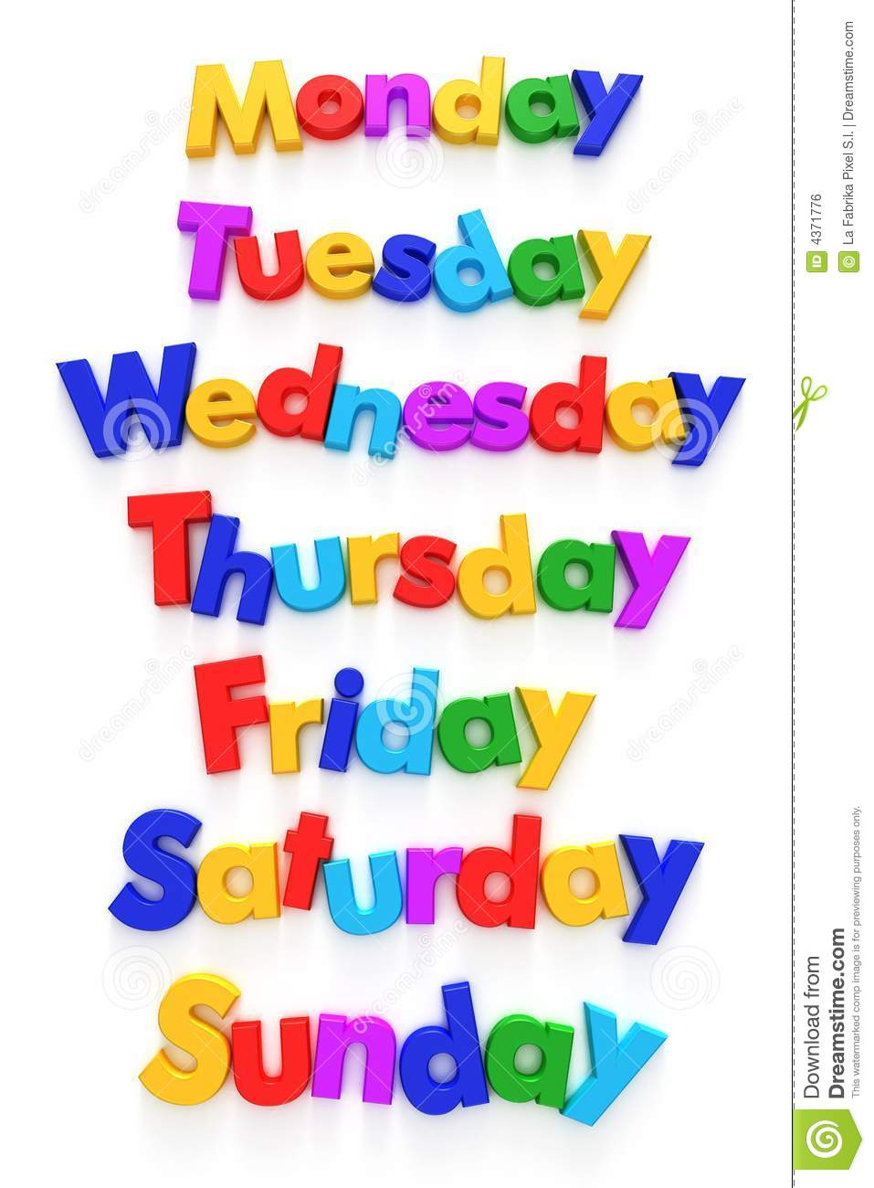 Days Of The Week In Letter Magnets Royalty Free Stock Image.