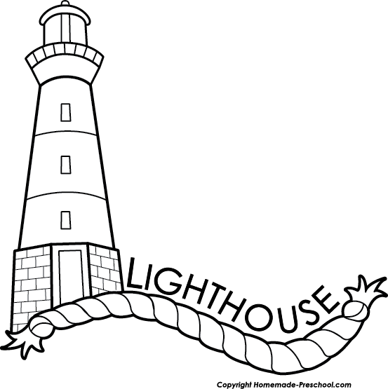 Free Lighthouse Clipart Black and White Image.