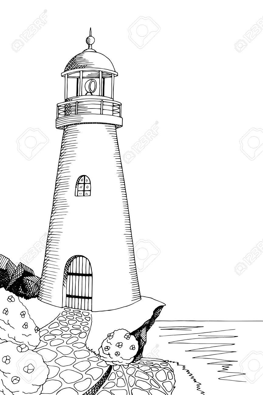 Lighthouse graphic art black white sea landscape illustration...