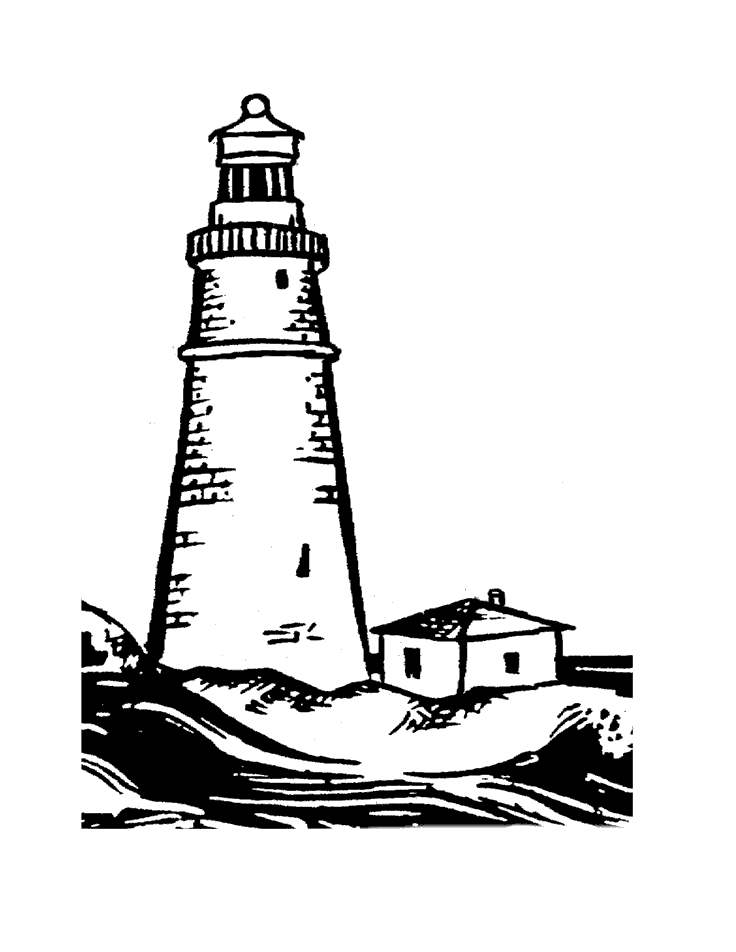 Lighthouse Black And White Clipart Printable 2060.