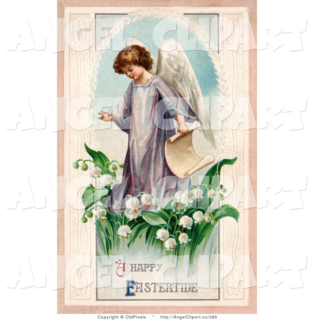Royalty Free Stock Angel Designs of Lilies.