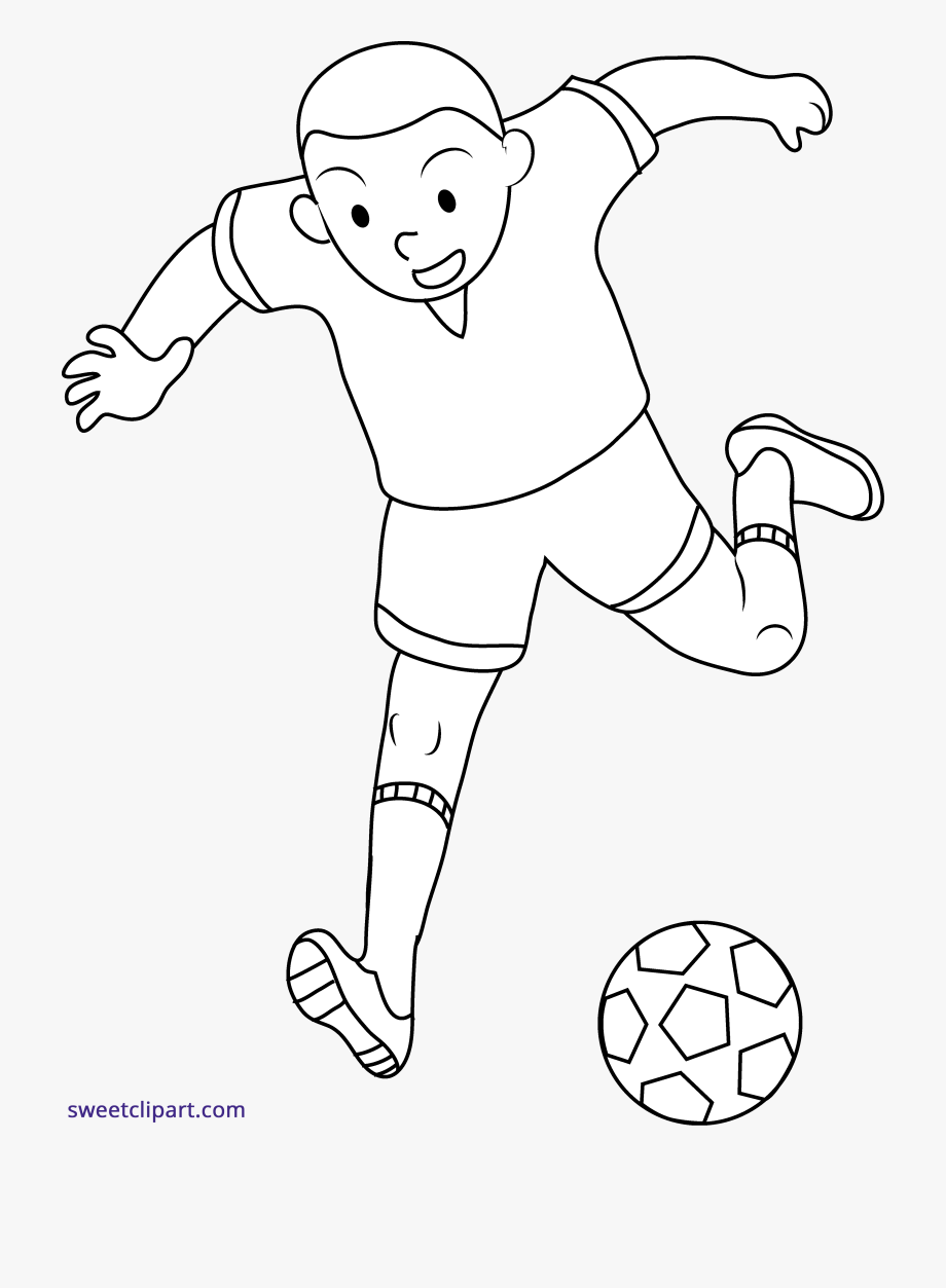 Kid Playing Soccer Line Art Clipart.