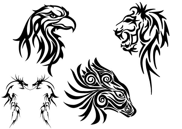 Free Tribal Animals Clip art: Eagle Head, Lion, Dragon and Horse.