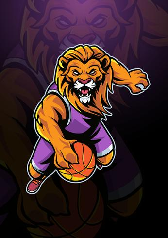 Lion Basketball Mascot Logo.