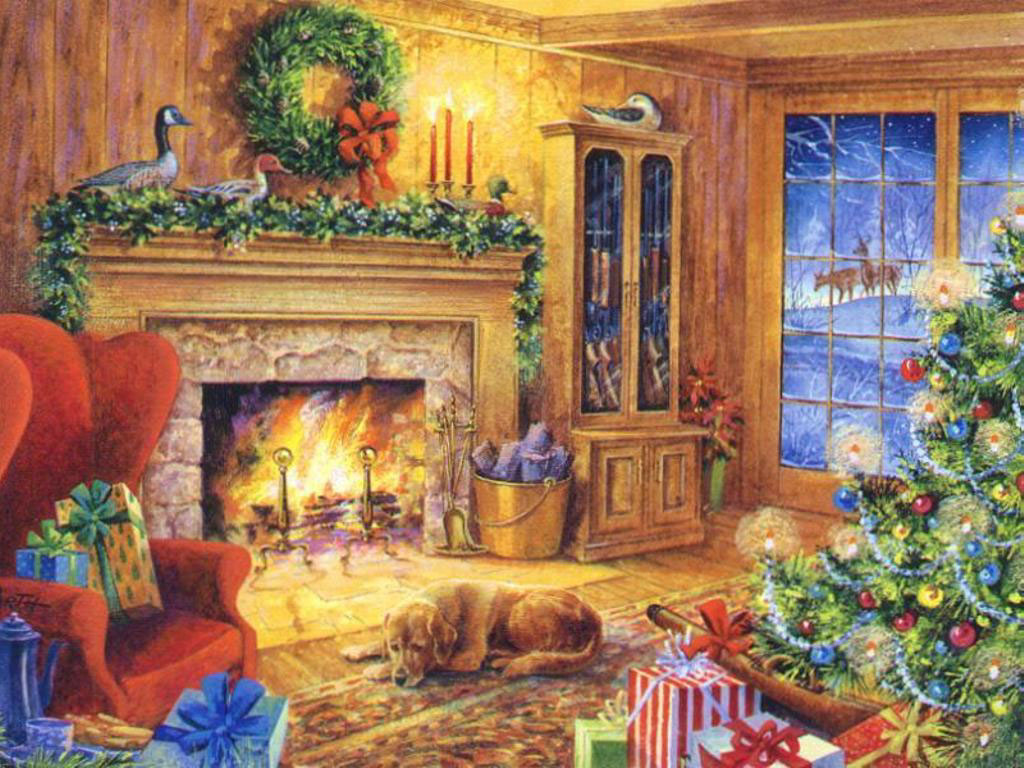 Christmas Paintings Wallpaper.