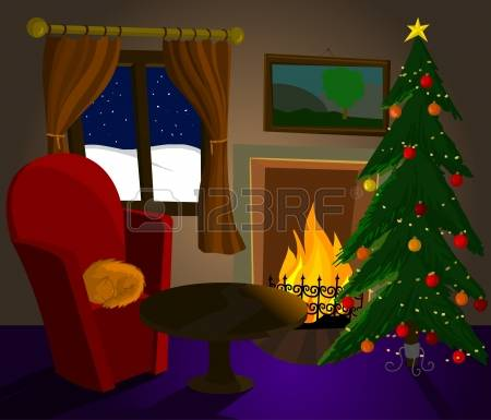 2,550 Fireplace Christmas Stock Vector Illustration And Royalty.