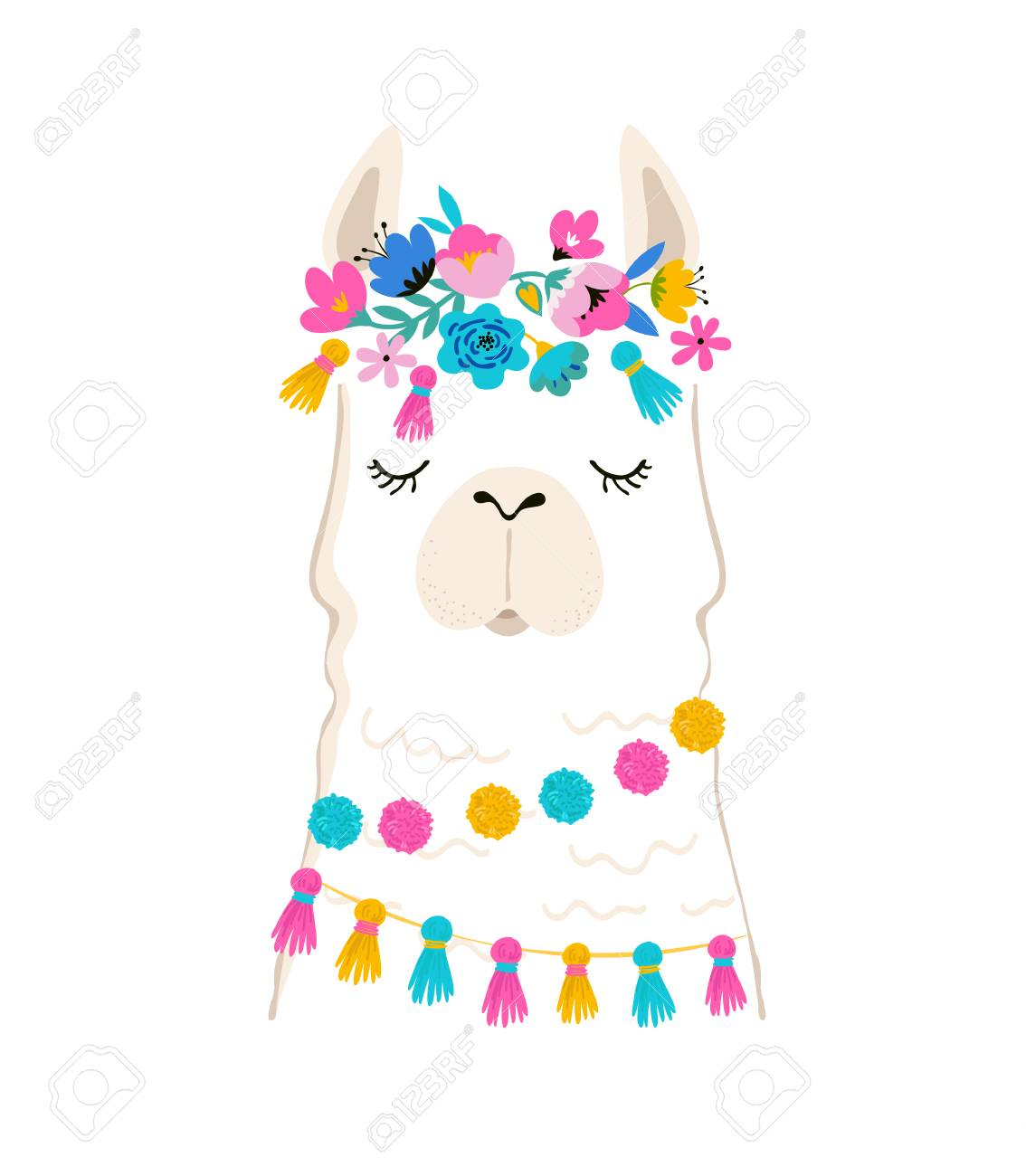 Llama illustration, cute hand drawn elements and design for nursery...
